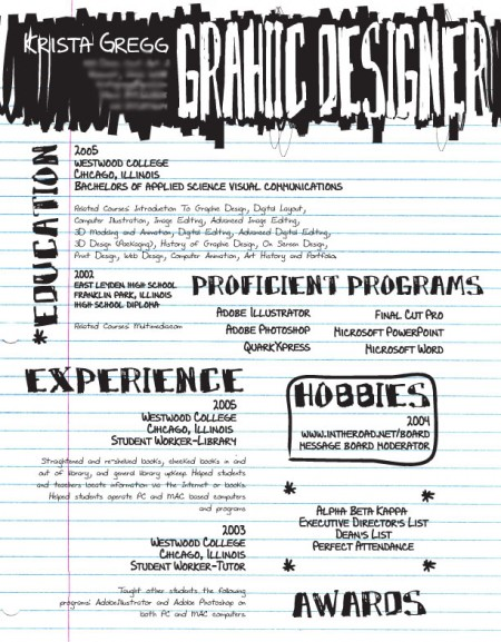 Creative Resume by Krista Gregg